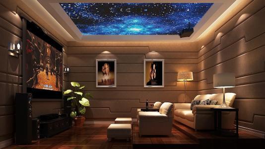 美式乡村风格客厅家庭影院装修设计效果图片