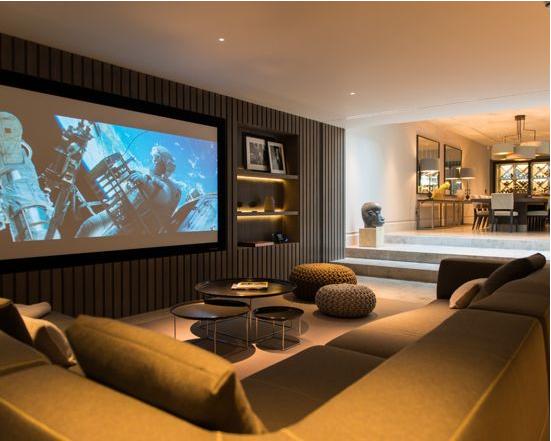 美式简约风格客厅投影仪安装隐藏设计效果图
